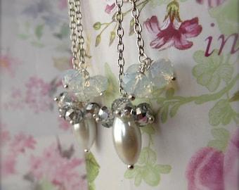 Beaded Dangle Earrings White Pearl Drop Earrings Bridal Bead Jewellery January Sale
