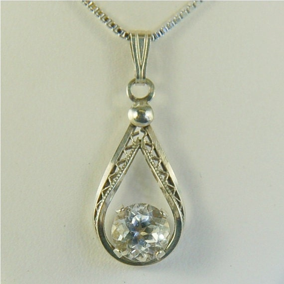 White Topaz Necklace Sterling Silver 6mm Round 1ct Filigree Teardrop Setting Natural Untreated