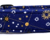 Look Through The Telescope Gold and Blue Celestrial Galaxy Star Dog Collar