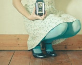 SALE 25% OFF Play - Portrait photography, female figure, camera photo, turquoise and cream, feminine art