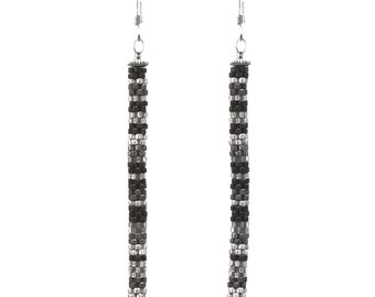 Black and Silver Tube Earrings - 80mm length - beadwoven glass beads - stix style - sterling earwires