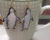 Handmade Enameled Penguin Earrings