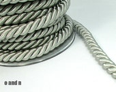 Twisted silk cord, 9mm, silver / grey satin rope, 1 meter