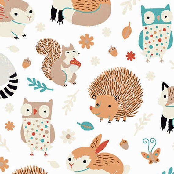 Critter patch organic cotton fabric by designer alyssa thomas for Cute baby fabric