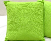 Green Quilted Flower Throw Pillow