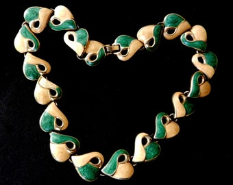 Gorgeous choker necklace 1960 Italian -  hearts/leaves links of enamel ivory& green/turquoise--Art.80/3-