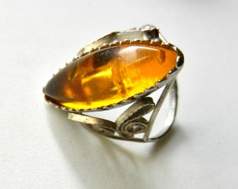 Antique ring with Amber Cabochon - Silver Filigree - Vintage 1940s Ring size 7 -Art.102/3 -