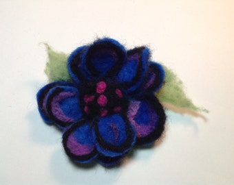 Blue and orchid felt flower pin