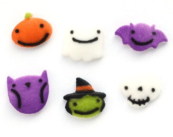 Cute Halloween Sugar Decorations, Cupcake Decorations (set of 12) Ghost, Witch, Pumpkin, Owl, Bat and Skull Edible Sugars