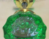 FREE SHIPPING Green Crystal Doorknob Set Hand Painted Glass 2 Inch Knobs