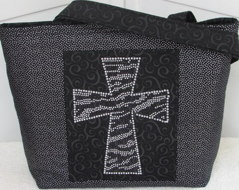 Rhinestone Cross Large Tote Bag / Black and Silver Purse Ready To Ship