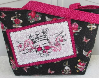 Hot Pink Tattoo Skulls Large Tote Bag Black and Pink Tattoo Purse Ready to Ship