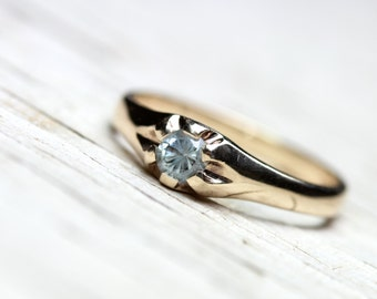 Restored Vintage Engagement Ring  10K Yellow Gold Pale Blue Zircon Belcher Setting Simple Upcycled Bridal Tapered Band - Them Baby Blues