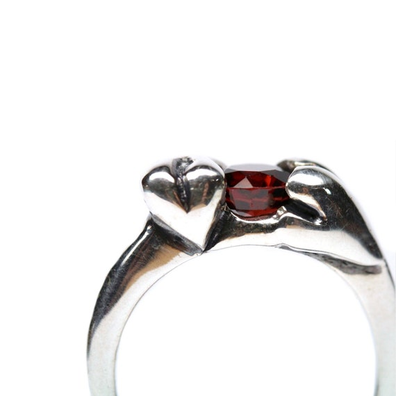 Sterling Silver Heart Engagement Ring Red Garnet Romantic Love January Birthstone Valentine's Day Gift for Her Sculptured Cast - Heart Crazy