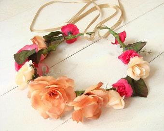 Rose hair crown, women hair accessory, floral crown,