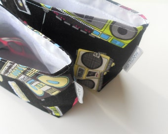 Retro 80's Reusable Snack Bag Set/Boom Box & Mix Tape Reuseable Snack Bag Set