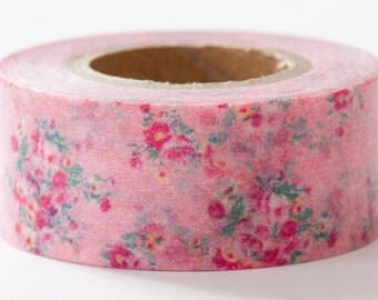 Romantic Flower Pink, Mark's Multi, - Japanese Washi Masking Tape, Adhesive Tape, Card Decoration, Cute Planner Decoration, Kawaii Collage