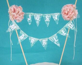 "Cake banner, wedding, Lace Mint, Blush ""Just Married"" Bunting C272 - cake banner wedding topper"