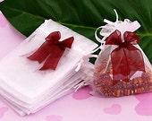10pcs 12x10cm White Drawstring Organza Pouch Bag/Jewelry Bag, Christmas/Wedding Gift Bag