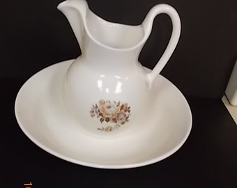 Large White Antique Look Pitcher and Bowl Set