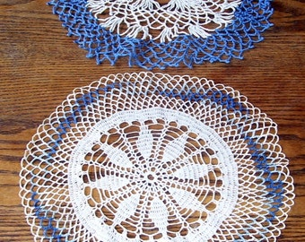 2 Blue and White Hand Crocheted Round Parlor Table Doilies, Cotton Doilies, Lace Doily, Shabby Chic, Designer, Antique Linens, Table Linens