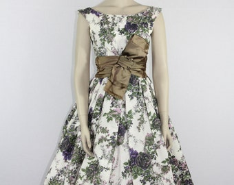 1950s Vintage Party Dress - JONNY HERBERT Floral Print Taffeta Full Skirt Prom Party Dress