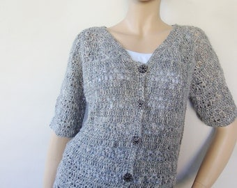 Crochet Sweater, Gray Cardigan, Cardigan Grey, Crochet Cardigan Sweater, Women's Sweaters, Silk-Linen Top, Available in S/M