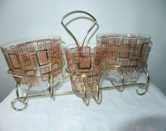 Vintage Glass Ice Bucket Bar 3 Piece Set Leaf Design Clear with Gold Rack Carry Stand Retro