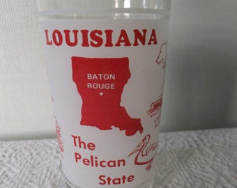 Vintage Souvenir State Glass Tumbler Louisiana Frosted White Red Vacation Travel Retro Road Trip Display