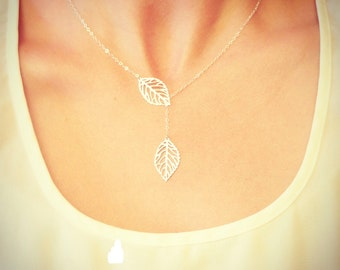 Leaf Lariat Petite - silver grey white small delicate leaf pendants - Wedding Jewelry - Bridal - Gift For - Christmas Gift