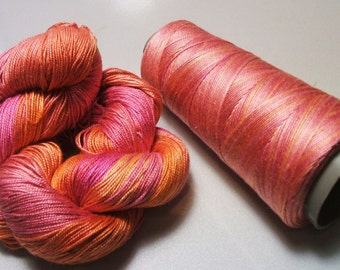 100% Pure Mulberry Queen Silk Yarn 50 gram 3 Ply Lace Weight Sunrise QS019 Lot H - Cone or Hank