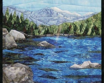 Tranquil Lake England Design Mountain Nature Landscape Quilt Pattern