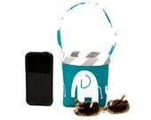 CAR CELLPHONE CADDY Turquoise Elephants, Cellphone Holder, Sunglass Case, Mobile Accessories, iPhone, Beach Chair Caddy, Pool Chair Holder