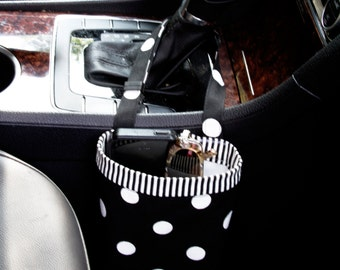 CAR CELLPHONE CADDY, Black with White Polka Dots, Sunglasses Case, Mobile Accessories, Beach Bag, Cellphone Storage, Golf Gift