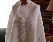 New(Ready to ship) Crocheted Wrap - Cape - Shawl  ''QUEEN ANNE''  Wrap with Flower Brooch in White
