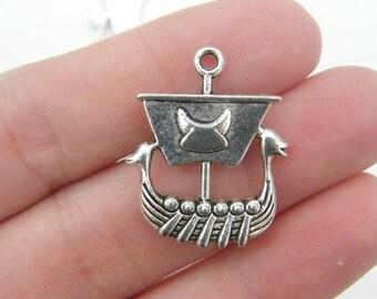 BULK 20 Viking ship pendants antique silver tone SW31