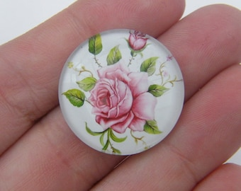 4 Rose cabochon glass dome 25mm G2