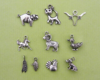 The Farm Collection - 10 different antique silver tone charms