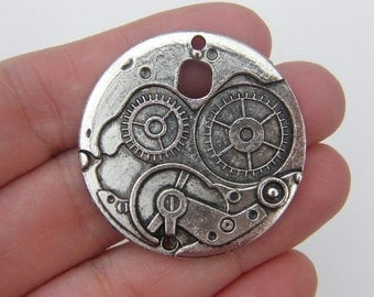 2 Gear clock connector charms antique silver tone P181