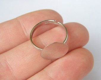 20 Ring pad base 16.7mm silver tone