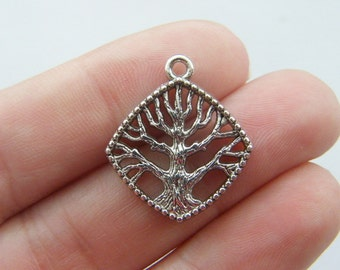 10 Tree charms antique silver tone T37
