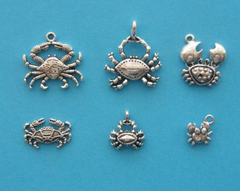 The Crab Collection -  6 different antique silver tone charms