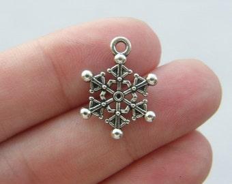 BULK 50 Snowflake Christmas charms antique silver tone SF28