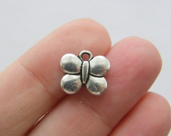 10 Butterfly charms  antique silver tone A353...