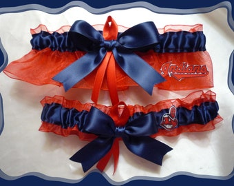 Red and Navy Organza Ribbon Wedding Garter Made with Cleveland Indians Fabric