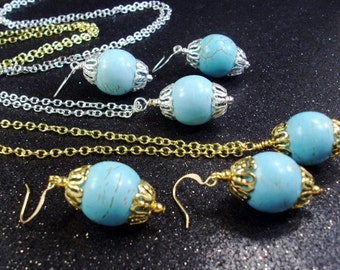 Handmade Wire wrapped Turquoise gemstone chain necklace
