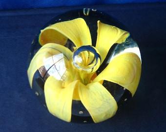 Vintage HandBlown Glass Flower Paperweight