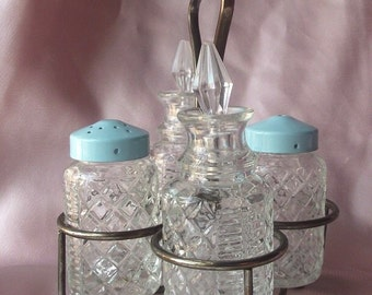 Shabby Chic Crystal Glass Salt and Pepper Shakers