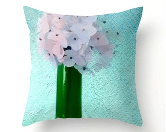 Hydrangea Bouquet Pillow No.1 decorative throw pillow, accent cushion, hydrangeas decor, spring trends, pillow cover, cushion cover