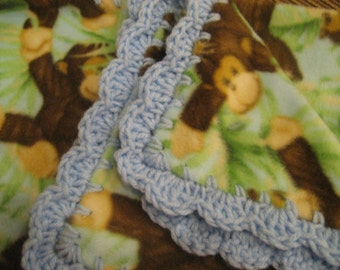 Baby Boy Fleece With Jungle Monkeys Boy Baby Blanket With Baby Blue Shell Crochet Edge